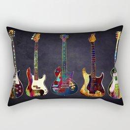 Sounds of music. Five colorful guitars. Rectangular Pillow