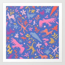 Frid Menagerie in Azul Art Print