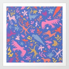 Frid Menagerie in Azul Art Print