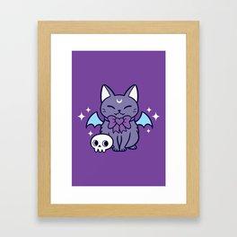 Black Bat Kitten 02 Framed Art Print