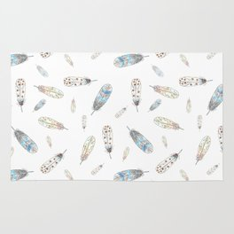 Watercolor feathers print Rug
