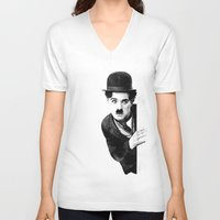 chaplin V-neck T-shirts featuring MR CHAPLIN by John Medbury (LAZY J Studios)