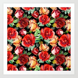 Hand painted black red watercolor roses floral Art Print
