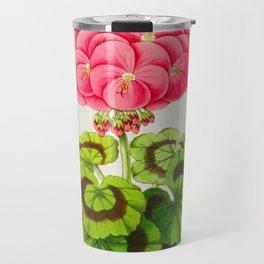 Vintage Botanical Illustration Beautiful Pink Flower Lush Green Leaves Scientific Floral Drawing Travel Mug