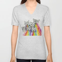 Kittens Puking Rainbows Unisex V-Neck