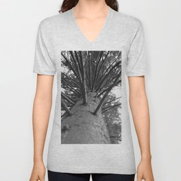 tree black and white photo Unisex V-Neck