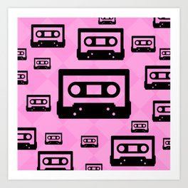 Pink & Black Cassette Tapes Art Print