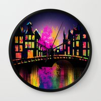 amsterdam Wall Clocks featuring Amsterdam  by mark ashkenazi