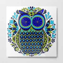 Blue Green Owl Mandala Metal Print