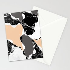 Modern black white marble gray peach color block Stationery Cards