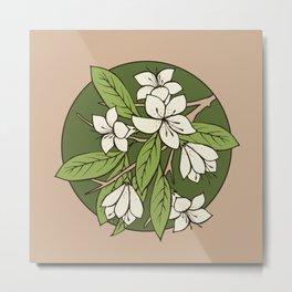 Sakura Branch Pattern - Greenery Metal Print
