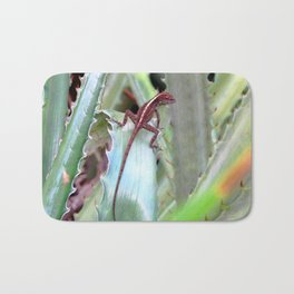 Watercolor Lizard, Crested Anole Lizard 01, St John, USVI, Aloe, Take Me Away... Bath Mat