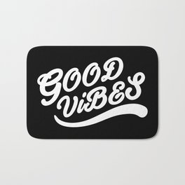 Good Vibes Happy Uplifting Design Black And White Bath Mat