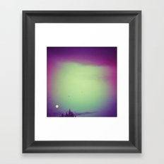Moon, trees & birds Framed Art Print