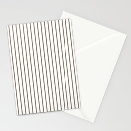 Mulch Brown Pinstripe on White Stationery Cards