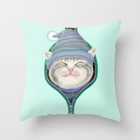 yetiland Throw Pillows featuring Cat in the zip by Tummeow