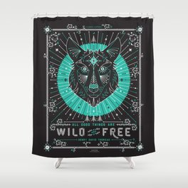 Wild & Free Wolf – Turquoise & Grey Shower Curtain