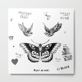 harry style one direction tattoo collage Metal Print