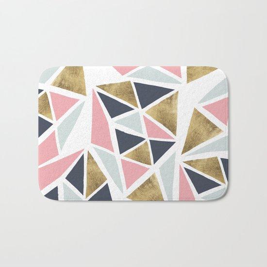 Modern geometrical pink navy blue gold triangles pattern Bath Mat