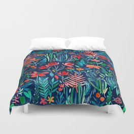 Tropical Ink - a watercolor garden Duvet Cover