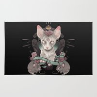 sphynx Area & Throw Rugs featuring Sphynx - Dark by AlchemyArt