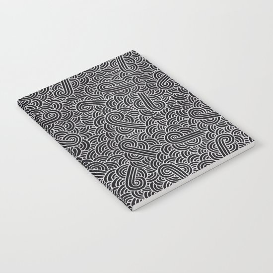 Black and faux silver swirls doodles Notebook
