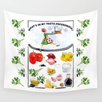 pasta Wall Tapestries featuring WHAT'S IN MY PASTA PEPERONATA? by Colette van der Wal