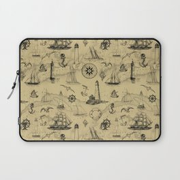 Old Map Background with Vintage Nautical Pattern Laptop Sleeve