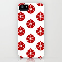 Snowflakes in Red Ornaments Christmas Decor iPhone Case
