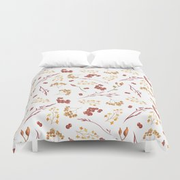 Autumn yellow orange pink red watercolor fall leaves berries Duvet Cover