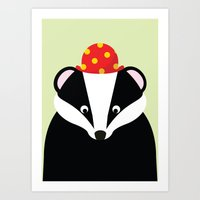 badger Art Prints featuring Badger by onelittledickybird