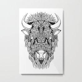 BISON head. psychedelic / zentangle style Metal Print