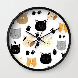 Cat Pattern 1 Wall Clock