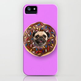 Pug Chocolate Donut iPhone Case
