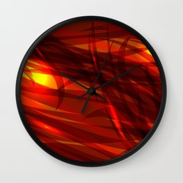 Glowing cosmic orange background made of black red metallic lines. Wall Clock