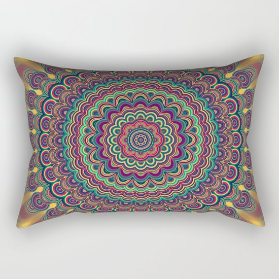 Psychedelic oval  mandala Rectangular Pillow