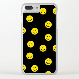 Smiley faces yellow happy simple rainbow colors pattern smile face kids nursery boys girls decor Clear iPhone Case