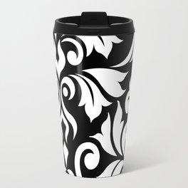 Flourish Damask Art I White on Black Travel Mug