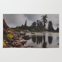 rocky Area & Throw Rugs featuring Rocky Pond by Leah Flores