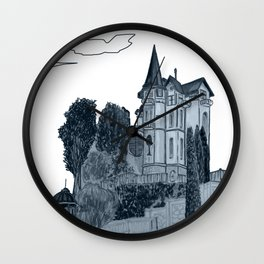 house with a turret and trees Wall Clock