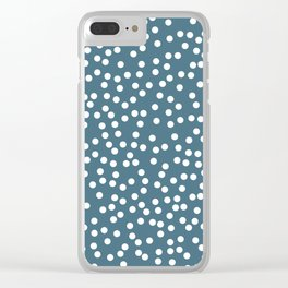 Desaturated Green and White Polka Dot Pattern Clear iPhone Case
