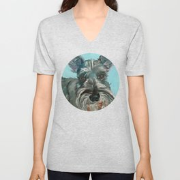 Schnauzer Dog Portrait Unisex V-Neck