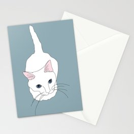 Kitty cat Illustrated Print White Pink Blue Stationery Cards