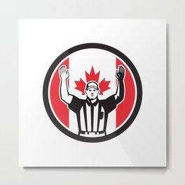 Canadian Football Referee Canada Flag Icon Metal Print