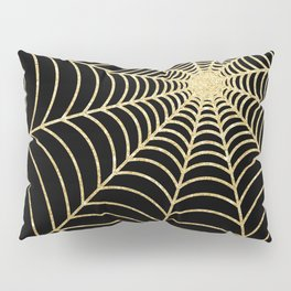 Spiderweb   Gold Glitter Pillow Sham