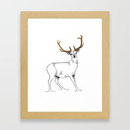 Golden deer Framed Art Print