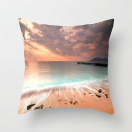 Cannes La Bocca Beach  Throw Pillow