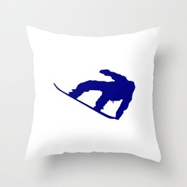 Snowboard Jumping Silhouette Throw Pillow