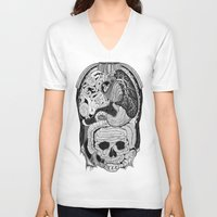 anatomy V-neck T-shirts featuring Gross Anatomy by Chris Varnum