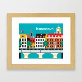 Kobenhavn, Denmark - Skyline Illustration by Loose Petals Framed Art Print